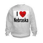 I Love Nebraska Kids Sweatshirt