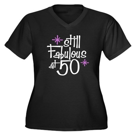 Still Fabulous at 50 Women's Plus Size V-Neck Dark