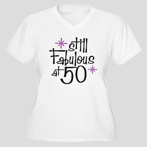 Still Fabulous at 50 Women's Plus Size V-Neck T-Sh