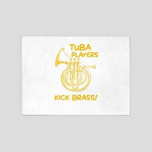 Funny Tuba Players Kick Brass Music 5'x7'Area Rug