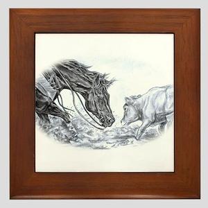 Cutting Horse Framed Tile
