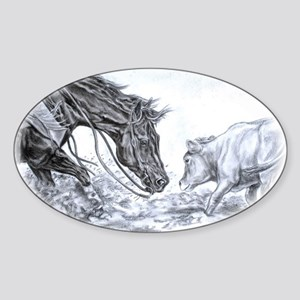 Cutting Horse Oval Sticker