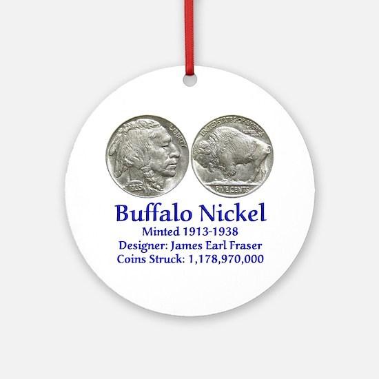 Buffalo Nickel Ornament (Round)
