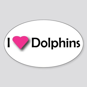 I LUV DOLPHINS! Oval Sticker
