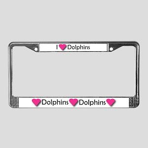 I LUV DOLPHINS! License Plate Frame