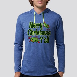 MERRY CHRISTMAS Y'ALL Mens Hooded Shirt