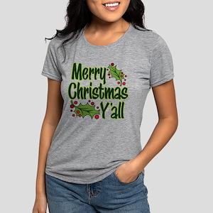 MERRY CHRISTMAS Y'ALL Womens Tri-blend T-Shirt