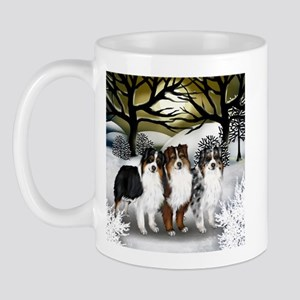 Australian Shepherd Dogs Winter Sunset Mug