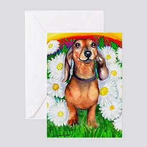 Dachshund Daisy Patch Greeting Card
