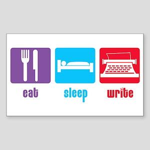 Eat Sleep Write Rectangle Sticker