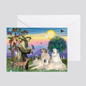 St Francis & Great Pryenees Greeting Cards (Pk of