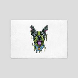 Halloween Dog French Bulldog Zombie Ap 4' x 6' Rug