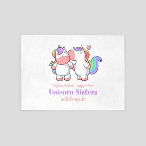Cute Unicorn Sisters Quote 5'x7'Area Rug