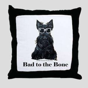Scottie Bad to the Bone Throw Pillow