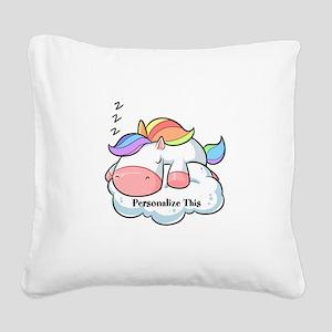 Cute Unicorn Dreams Personalized Square Canvas Pil