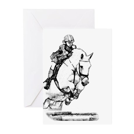 show jumping horse Greeting Cards (Pk of 20)