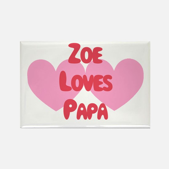 Zoe Loves Papa Rectangle Magnet