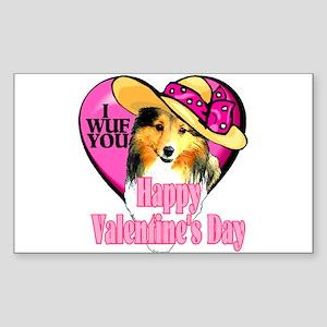 Shetland Sheepdog Valentines Rectangle Sticker 10