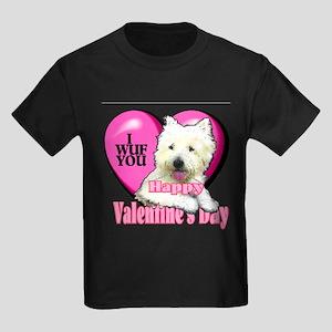 Westie Valentines Day Kids Dark T-Shirt