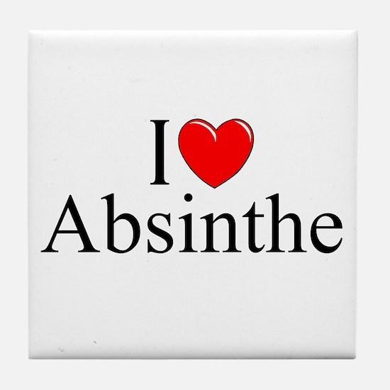 """I Love (Heart) Absinthe"" Tile Coaster"