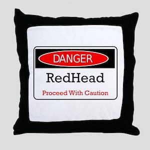 Danger! Red Head! Throw Pillow