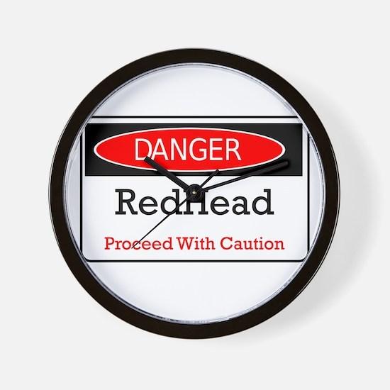Danger! Red Head! Wall Clock