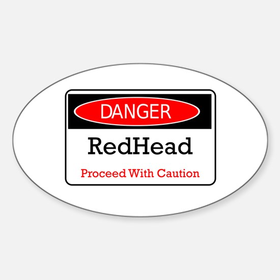 Danger! Red Head! Oval Decal