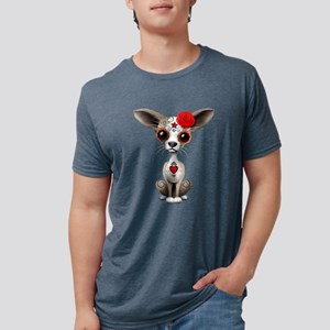 Red Day of the Dead Sugar Skull Chihuahua Puppy T-