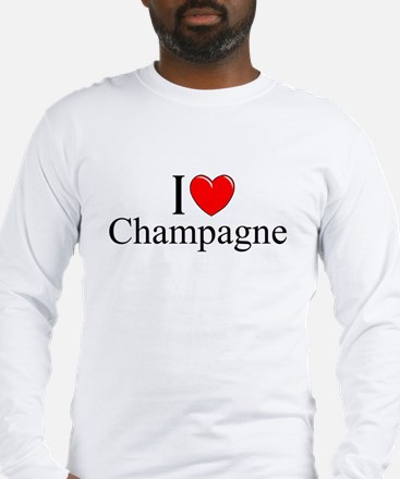"""I Love (Heart) Champagne"" Long Sleeve T-Shirt"