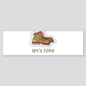 Let's Hike Green Bumper Sticker