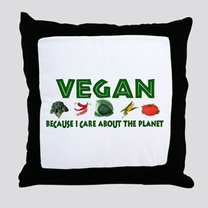 Vegans Care About Planet Throw Pillow