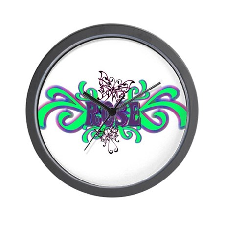 Rose's Butterfly Name Wall Clock