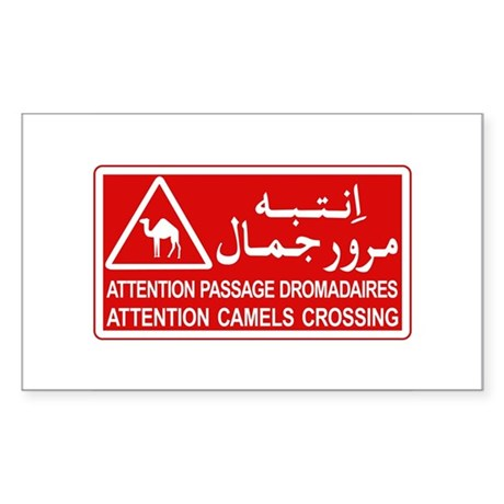 Attention Camels Crossing, Tunisia Sticker (Rectan
