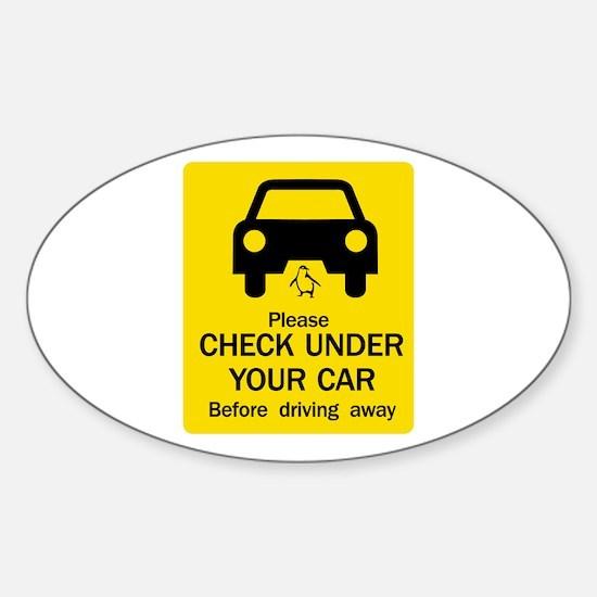 Check Under Car, Australia Oval Decal
