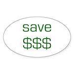 Save Dollars $$$ Oval Sticker (10 pk)