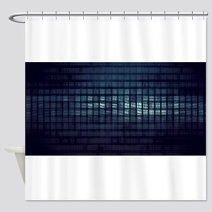Technology Concept and Digital Data Shower Curtain