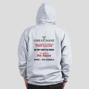 Great Dane Walking bk prnt Zip Hoodie
