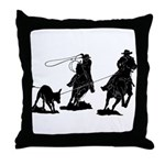 Team Roping Throw Pillow