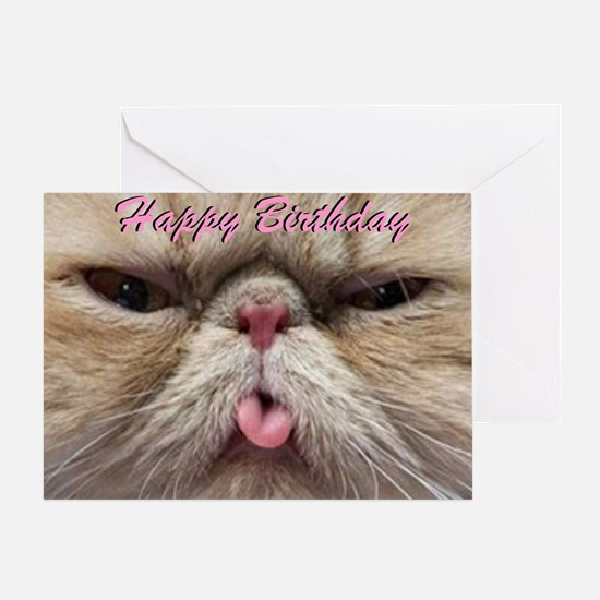 Happy Birthday Persian Cat Sticking Greeting Cards