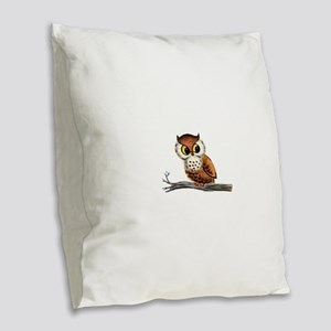 Vintage Owl Burlap Throw Pillow
