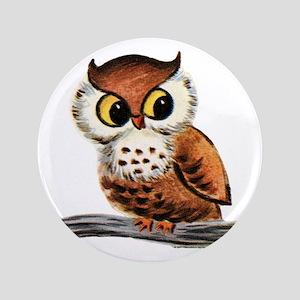 "Vintage Owl 3.5"" Button"