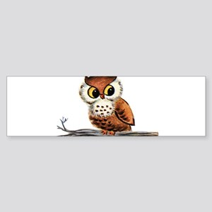 Vintage Owl Bumper Sticker