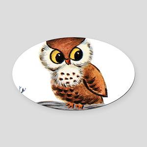 Vintage Owl Oval Car Magnet