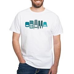 Funky Obama Oval (blue) White T-Shirt
