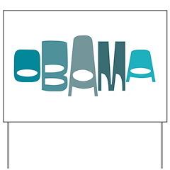 Funky Obama Oval (blue) Yard Sign