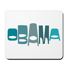 Funky Obama Oval (blue) Mousepad