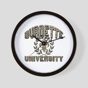 Burdette Last Name University Wall Clock