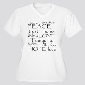 Peace Trust Justice Love Women's Plus Size V-Neck