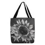 Black & White Sunflower Polyester Tote Bag