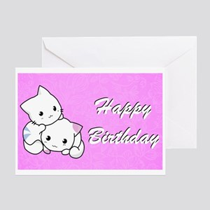 Happy Birthday Cute White Kittens Greeting Cards